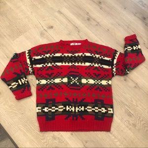 Hand Knit Nordic Look Chunky Red Crewneck Sweater